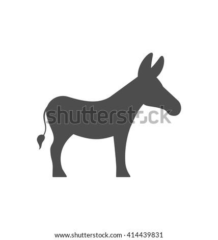 Illustration Donkey Silhouette Isolated on White Background - raster - stock photo