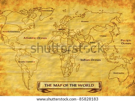 Illustration Drawing Of A Map Of The World Showing The Continents  America,Africa,Europe