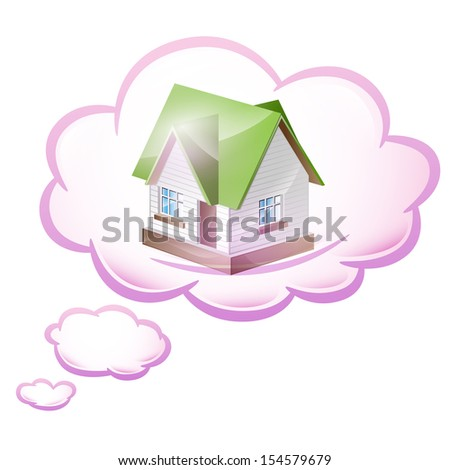 Illustration dream of their own home. Raster copy  - stock photo