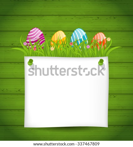 Illustration Easter colorful eggs in green grass with empty paper card for your text - raster - stock photo