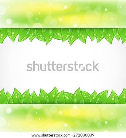 Illustration eco brochure with fresh green leaves - raster - stock photo