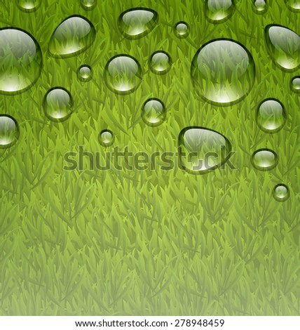 Illustration eco friendly background with water drops on fresh green grass texture - raster - stock photo