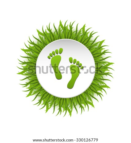 Illustration Eco Friendly Footprints on Green Grass, Concept of Green Earth - raster - stock photo