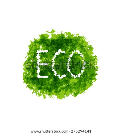 Illustration eco friendly words on green grunge background - raster - stock photo