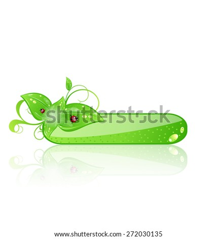 Illustration eco glossy panel with green leaves and ladybug isolated on white background - raster - stock photo
