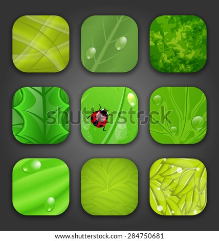Illustration ecologic backgrounds with leaves texture for the app icons - raster