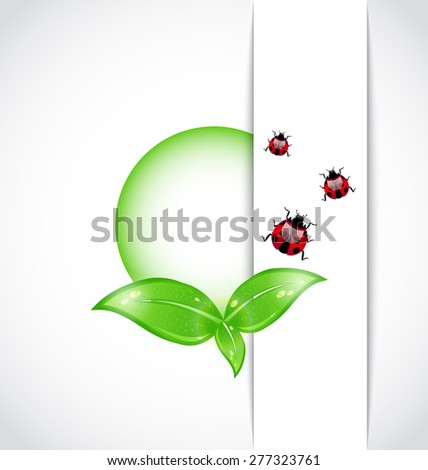 Illustration ecological background with bubble, green leaves, ladybugs - raster - stock photo