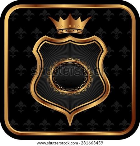 Illustration elegant gold heraldry frame - raster - stock photo