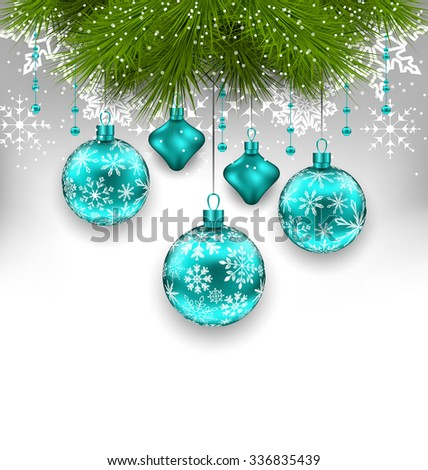 Illustration Elegant Xmas Background with Glass Hanging Balls and Fir Twigs - raster - stock photo