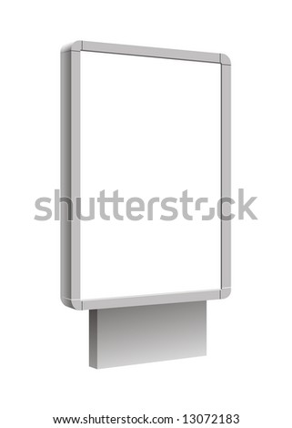 Illustration empty billboard on a white background