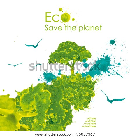 Illustration environmentally friendly planet. Abstract tree, water and leaf hand drawn watercolor isolated on a white background Think Green. Ecology Concept. - stock photo