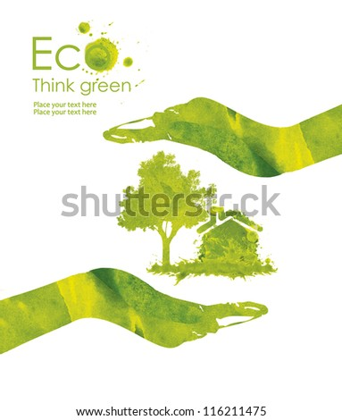 Illustration environmentally friendly planet.Energy saving eco lamp,from watercolor hand drawn stains,isolated on a white background. Think Green. Ecology Concept - stock photo