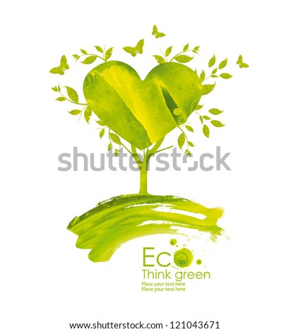 Illustration environmentally friendly planet from watercolor stains,isolated on a white background.. Green tree bloom with love.  Think Green. Ecology Concept. - stock photo