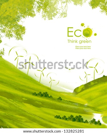 Illustration environmentally friendly planet.Green hills and wind turbines, hand drawn from watercolor stains, isolated on a white background. Think Green. Eco Concept.
