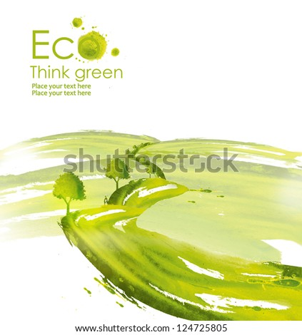 Illustration environmentally friendly planet. Green meadow and trees along the road,from watercolor stains,isolated on a white background. Think Green. Ecology Concept. - stock photo