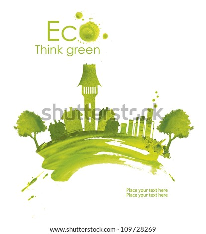 Illustration environmentally friendly planet.Green town, plant and trees, hand drawn from watercolor stains, isolated on a white background. Think Green. Eco Concept.