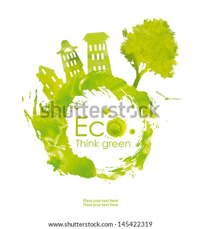 Illustration environmentally friendly planet. Green tree and house from watercolor stains,isolated on a white background. Think Green. Ecology Concept. forest - stock photo