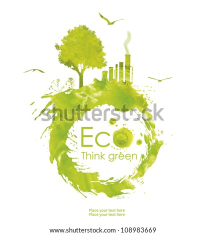 Illustration environmentally friendly planet. Green tree and plant from watercolor stains,isolated on a white background. Think Green. Ecology Concept. - stock photo