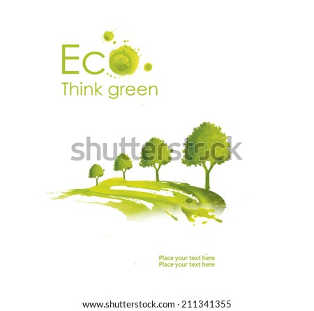 Illustration environmentally friendly planet. Green tree planting  on the road from watercolor stains,isolated on a white background. Think Green. Ecology Concept.