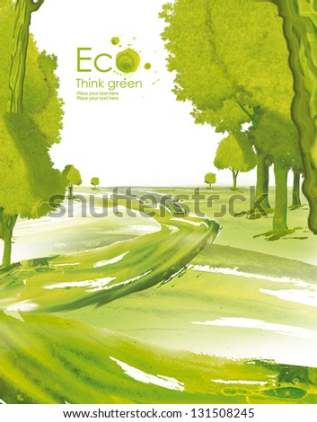 Illustration environmentally friendly planet. Green tree planting or deciduous forest on it from watercolor stains,isolated on a white background. Think Green. Ecology Concept. - stock photo