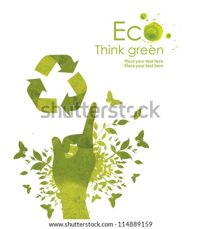 Illustration environmentally friendly planet. Hand points to the eco sign, from watercolor stains,isolated on a white background. Think Green. Ecology Concept. - stock photo