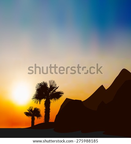 Illustration evening tropical landscape with sea, mountain, palm trees - raster - stock photo