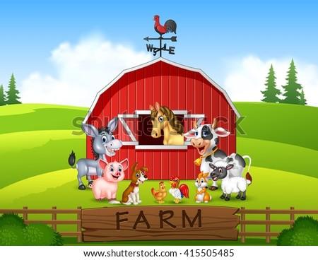 Farm Background Animals Stock Vector 413955706