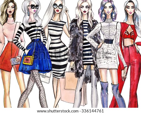illustration fashionable girls. shopping. fashion illustration. fashion banner.collage. art sketch of beautiful young woman in dress. Street fashion.  - stock photo