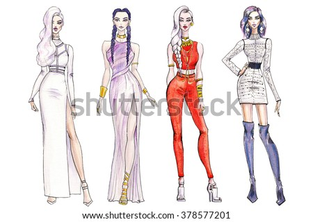 illustration fashionable girls. shopping. fashion illustration. fashion banner.collage. art sketch of beautiful young woman in dress. Street fashion. new trends - stock photo