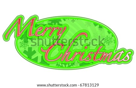 Illustration featuring 'Merry Christmas' for use as a banner, header. Isolated over a white background.
