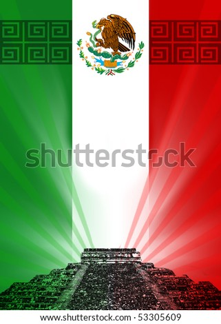 ILLUSTRATION FLAG MEXICO - stock photo