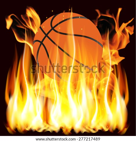 illustration flames and basketball - stock photo