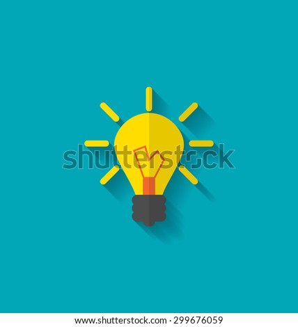 Illustration Flat Icon of Lamp, Concept Process of Generating Ideas to Solve Problems, Birth of the Brilliant Ideas - raster - stock photo