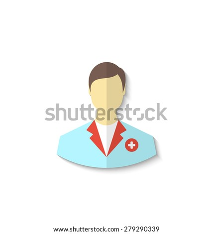 Illustration flat icon of medical doctor with shadow isolated on white background - raster - stock photo