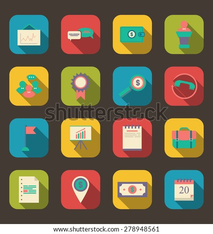 Illustration flat icons of business, office and marketing items, long shadow style - raster