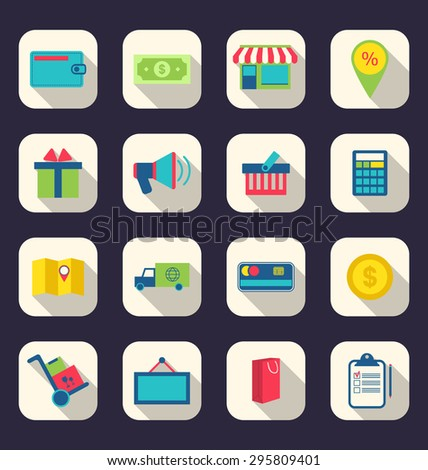 Illustration flat icons of e-commerce shopping symbol, online shop elements and commerce item, long shadow effect - raster - stock photo