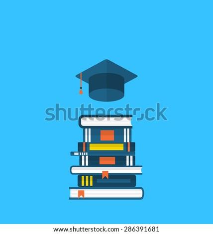 Illustration flat icons of graduation cap and  heap textbooks - raster - stock photo