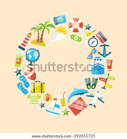 Illustration Flat Modern Design Collection Icons of Travel on Holiday Journey, Planning Summer Vacation, Tourism Objects and Equipment - raster - stock photo