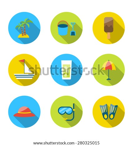 Illustration flat modern set icons of traveling, planning summer vacation - raster