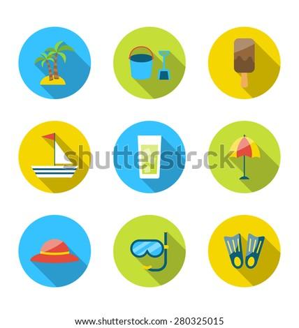 Illustration flat modern set icons of traveling, planning summer vacation - raster - stock photo