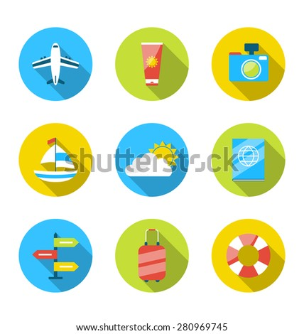 Illustration flat modern set icons of traveling, planning summer vacation, tourism and journey objects - raster - stock photo