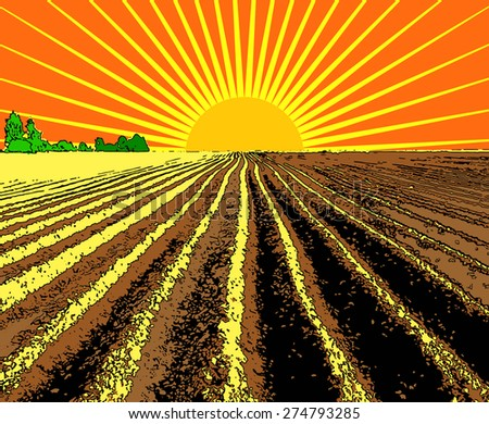 illustration flat strip of plowed land stretching to the horizon - stock photo