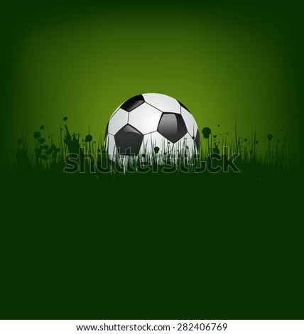 Illustration football card with ball in grass - raster