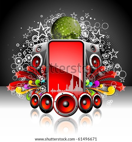 illustration for a musical theme with speakers and disco ball (JPG) - stock photo