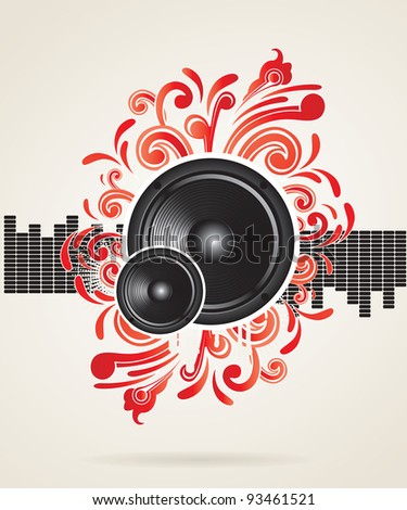 illustration for a musical theme with speakers and swirls