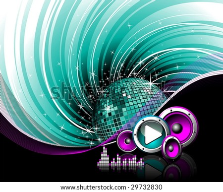 Illustration for a musical theme with speakers, disco ball and play button on grunge background. (JPG VERSION)