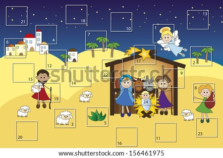 illustration for advent calendar with nativity