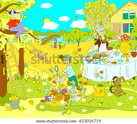 Illustration for children. Autumn picture, pastime, outside the city, in the country, in nature. Grandmother at the table pours tea, the boy explores insects, sits on a tree, the girl swings.