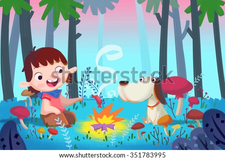 Illustration For Children: Forest Barbecue with Best Friends. Realistic Fantastic Cartoon Style Artwork / Story / Scene / Wallpaper / Background / Card Design  - stock photo