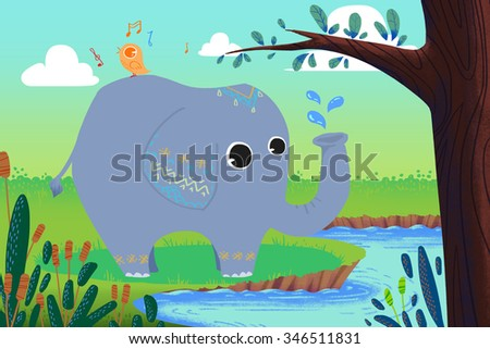 Illustration for Children: Little Elephant is Washing and Little Bird is Singing! Happy Friends at Riversides. Realistic Fantastic Cartoon Style Story / Scene / Wallpaper / Background / Card Design.